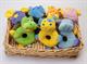 Детские товары Киев. Детские игрушки.Мягкие игрушки. LINDO 8 видов зверей-погремушек в корзине (супервелюр)