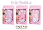 Детские товары Киев. Детские игрушки Киев. Dolls World Платье для пупса SimplyBaby, 3 ассорт.